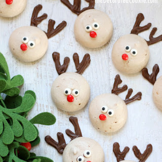 Reindeer Chocolate Peppermint Meringue Cookies