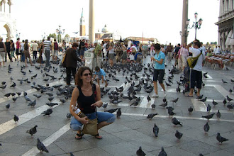 Photo: St. Mark's Square - Teresa with her bottle of wine amongst a quadrillion pigeons