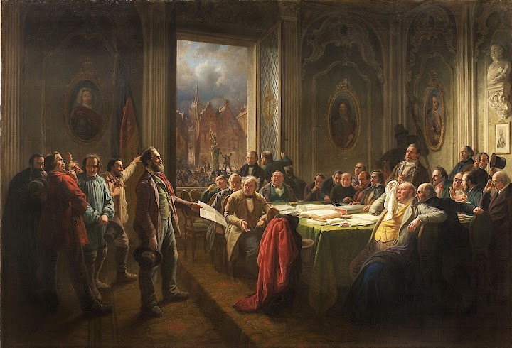 Gemälde: «Düsseldorfer Arbeiter vor dem Magistrat».