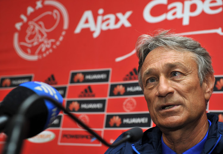 Ajax Cape Town head coach Muhsin Ertugral during his press conference ahead of their must-win match in the final round of the Absa Premiership season against Kaizer Chiefs at Cape Town Stadium.
