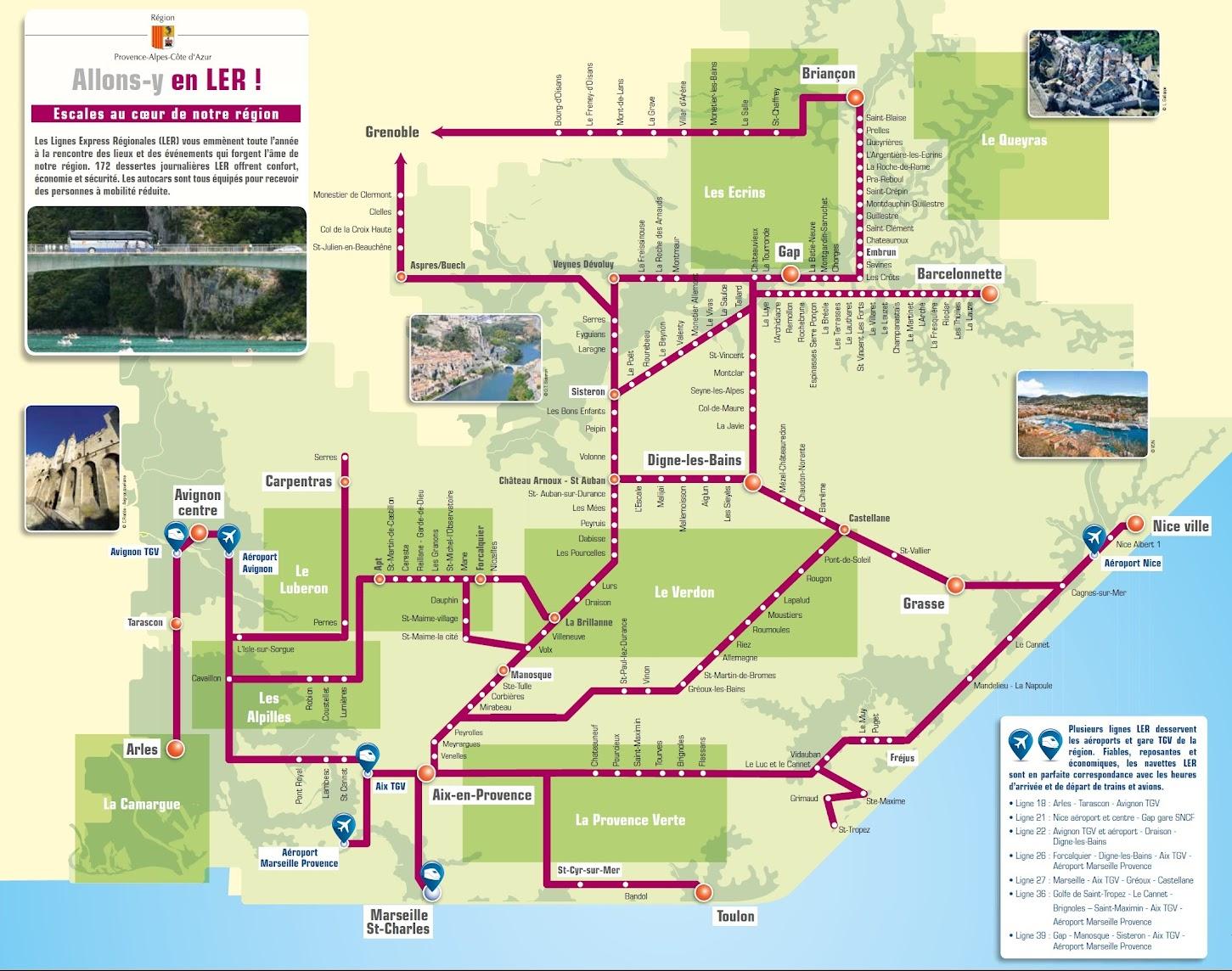 Автобусы Прованса - Автобусы на дальние дистанции - LER (Lignes Express Régionales —LER)