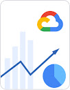 Graph showing upward growth, pie chart, and Google Cloud logo