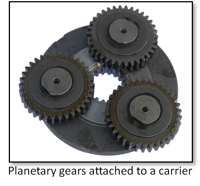 Carrier for a set of three planetary gears from a final drive