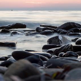 strunjan bay by Lucija Janša - Novices Only Landscapes ( waves, slovenia, strunjan, sea, long exposure, rocks )