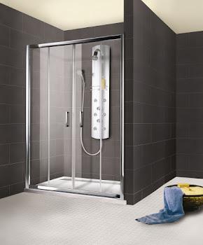 Porte de douche coulissante en niche, 120, 140, 150, 160 ou 180 cm, 4 éléments