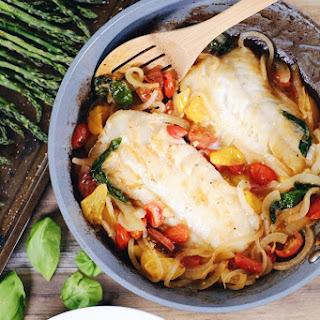 Tomato Basil Cod w/ Asparagus.