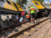 Emergency services personnel and police are on scene working to help passengers injured in a train accident in Pretoria on Tuesday.