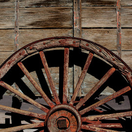 Wagon wheel by Chris Seaton - Transportation Other ( rust, wagon wheel, wheel, wood, circle )