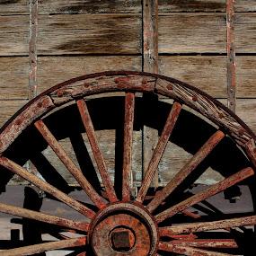 Wagon wheel by Chris Seaton - Transportation Other ( rust, wagon wheel, wheel, wood, circle )