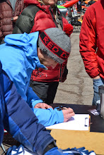 Photo: Lester River Race organizer Ryan Zimny assigns numbers to each of the racers.