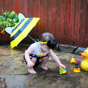 Rainy Days by Jessica Simmons - Babies & Children Child Portraits ( puddles, umbrella, ducks, children, rain )
