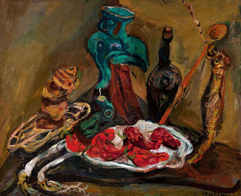 Хаим Сутин. Натюрморт с рыбой, перцами и луком.
