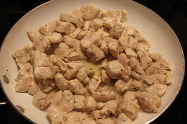 While your pasta water is coming to a boil, cook your cubed chicken seasoned...