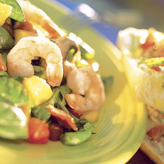 Shrimp Salad With Warm Bacon Dressing and Summer Bruschetta