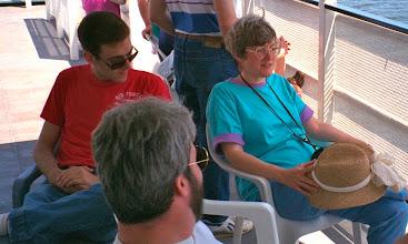 Photo: Allen Firstenburg (RPI student), Steve Burling (UM), and Sharon Roy (RPI) on a boat on the Hudson River during the 1992 RPI MTS Workshop