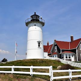 Nobska Lighthouse, Woods Hole by Janice Burnett - Buildings & Architecture Public & Historical ( beacon, cape cod, nobska lighthouse, massachusetts, woods hole, guide )