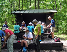 Photo: Some of our group at lunch along the trail in Pennsylvania