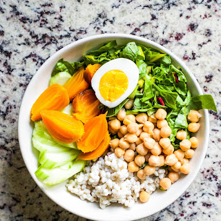 Roasted Beet Buddha Bowls with Creamy Probiotic Barley Salad.