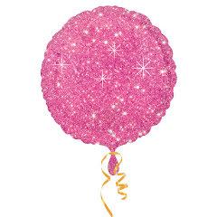 Folieballong, glittrig rosa