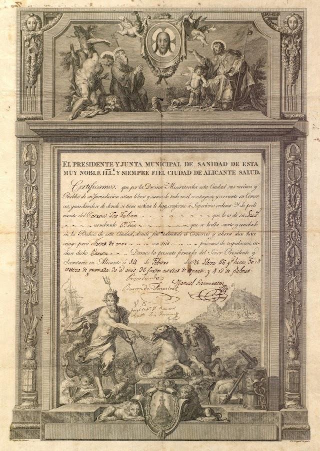 Patente de sanidad emitida por la Junta de Sanidad de Alicante el 14-2-1821 a favor del laúd San José que zarpaba con destino a Arenys de Mar.