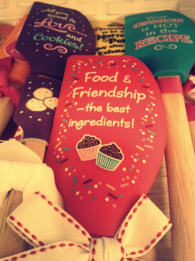 Food And Friendship by Ernie Kasper - Instagram & Mobile Android ( colourful, wood, cupcakes, words, ribbons, cooking, baking, utensils )