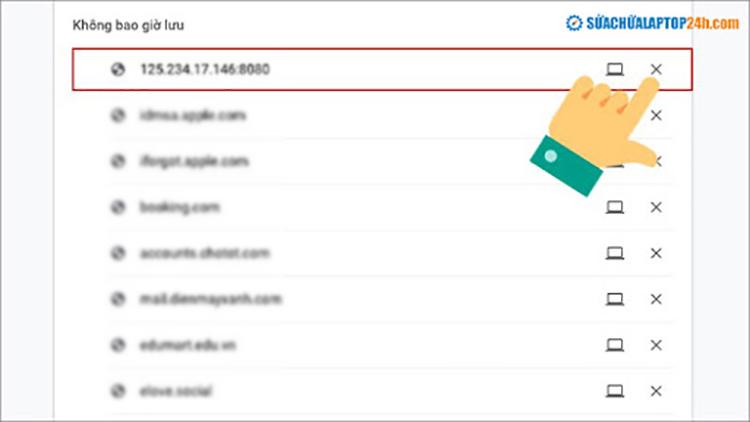 Hoàn tác nếu lỡ bấm Không bao giờ lưu mật khẩu cho trang web này