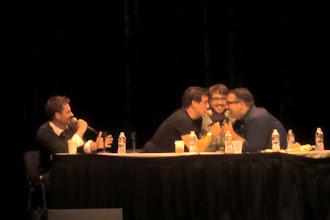 Photo: What we did at night - Nerdist podcast; hosts Chris Hardwick, Matt Mira, Jonah Ray, and guest John Barrowman