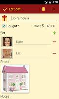 Screenshot of Gift List