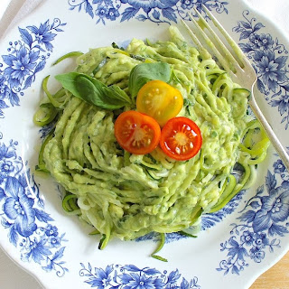 Zoodles (zucchini Noodles), Avocado Pesto And Cherry Tomatoes