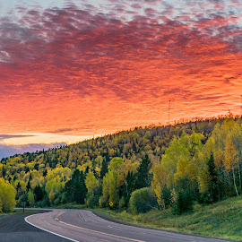 Gunflint Trail Sunset by David Johnson - Landscapes Sunsets & Sunrises ( landscape photography, fall colors, sunset, grand marais mn, lake superior )