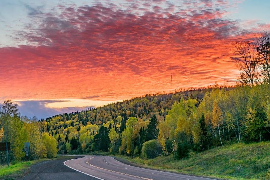 Gunflint Trail Sunset by David Johnson - Landscapes Sunsets & Sunrises ( landscape photography, fall colors, sunset, grand marais mn, lake superior )