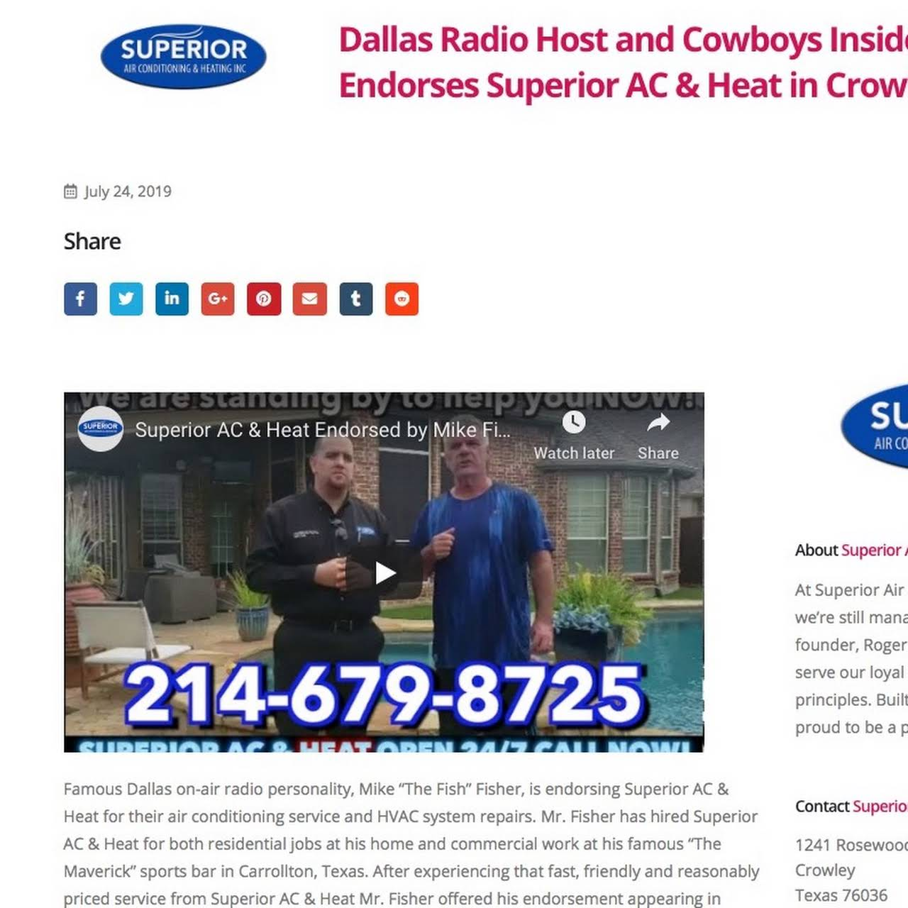 Dallas Radio Host and Cowboys Insider Mike Fisher Endorses