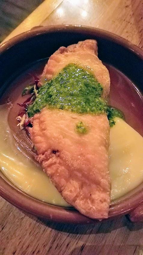 Urdaneta Portland Dumpling Week 2018 dish or Empanadilla de Lengua, braised beef tongue with Spanish olives, idiazbal cheese, smoked honey alioli