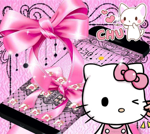 Pink Kitty Silken Bowknot Theme 1.1.1 screenshots 1