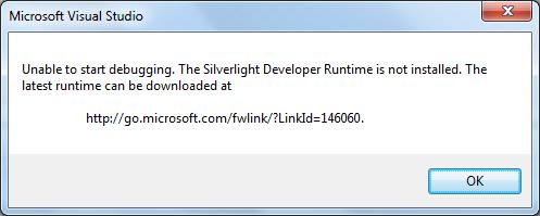 developer runtime for Silverlight is not installed