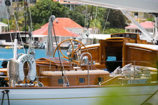The Stephens Waring-designed Bequia Yacht at the pier in St. Barts.