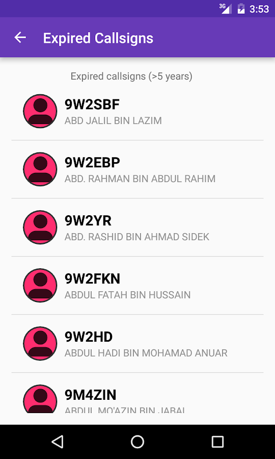 Malaysian Hamradio Callsign DB- screenshot