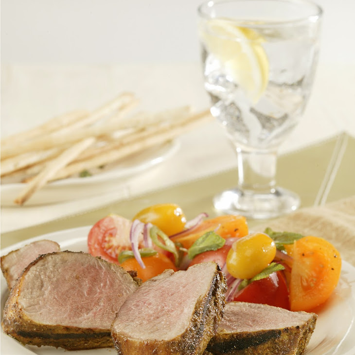 Grilled Pork Tenderloin with Tomato Salad and Fresh Mint Recipe