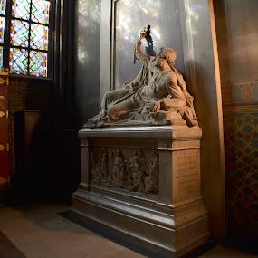 Notre Dame by Craig Payne - Buildings & Architecture Statues & Monuments ( paris, statue, notre dame, low light, stained glass,  )