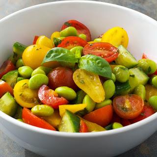 Tomato Edamame Salad with a Lemon Basil Vinaigrette {Vegan}