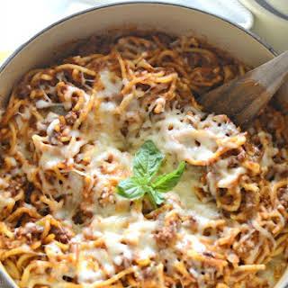 Easy Cheesy Skillet Spaghetti.
