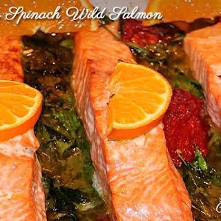Orange Spinach Wild Salmon.