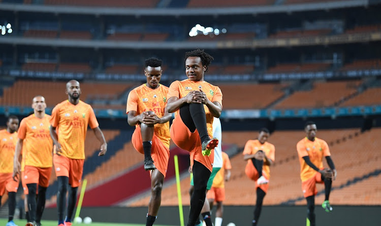 Percy Tau and teammates during a Bafana Bafana training session at FNB Stadium on March 23 2021 in Johannesburg.