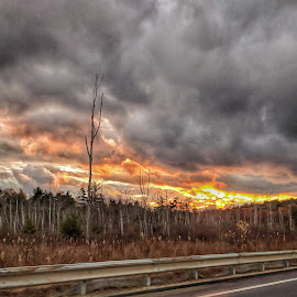 Sunset through the clouds by Jeff McVoy - Instagram & Mobile Android ( stormy, clouds, bright, sunset, moody, skies )