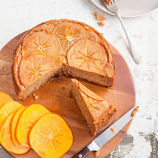Upside Down Persimmon Cake With Maple Syrup And Walnuts