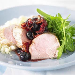 Pork Tenderloin with Berry Chutney and Couscous.