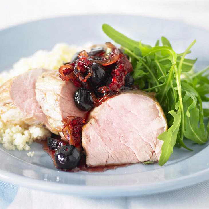 Pork Tenderloin with Berry Chutney and Couscous