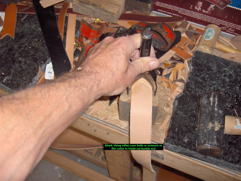 Photo: Step 4: Using either your knife, scissors or die cutter to finish buckle end. If making to size, do the other end too.