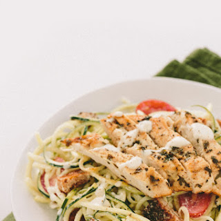 Gluten-Free Caesar Zucchini Noodles with Grilled Lemon Chicken, Tomatoes and Breadcrumbs