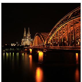 Hohenzollernbrücke... by Avishek Patra - Buildings & Architecture Bridges & Suspended Structures ( cologne, rhine, catholic, church, arch, dom, koln, cathedral, germany, bridge, roman,  )